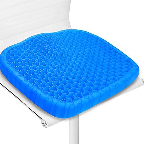 Gel Sitzkissen, Doppelschicht Verdickung Sitzkissen mit Rutschfester Stoffhülle Atmungsaktives Stuhlkissen Gelkissen Sitzkissen für Bürostuhl, Küchenstuhl, Rollstuhl, Auto