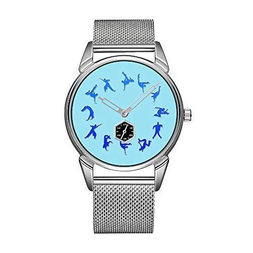 Break Dance may28th - Reloj de pulsera para hombre (acero inoxidable, sumergible), color plateado