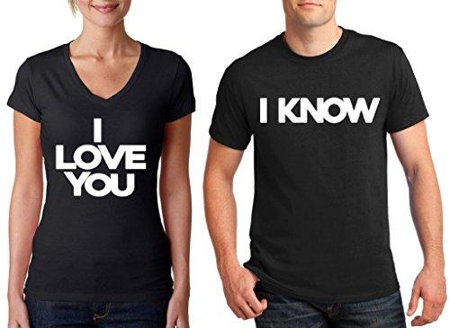 Awkwardstyles Matching Couple Shirts I Love You & I Know V-Neck & T-Shirt B Men XX-Large/Ladies X-Large