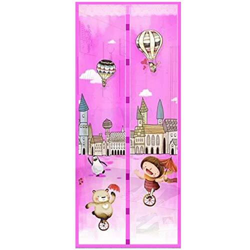 qingqingxiaowu Insektenschutz Balkontür Fliegengitter Magnet Tür Bildschirme Für Halten Heraus Fliegen 90 * 210cm Magnetische Bildschirm Tür pink