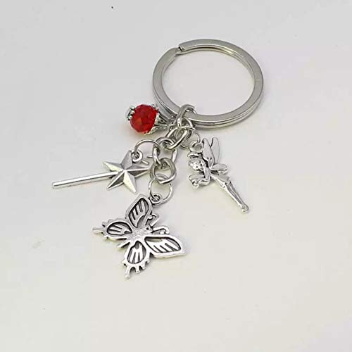 KANGDE 1 Schmetterling Schlüsselbund mit roten Perlen Metallzubehör Schlüsselbund Fee Zauberstab Anhänger Auto Schlüsselbund Geschenk