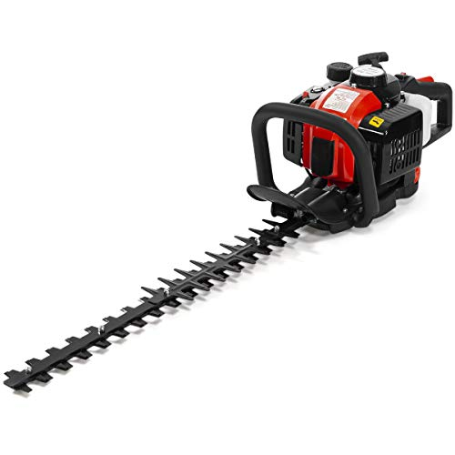 XtremepowerUS 26cc 2-Cycle Gas Powered Hedge Trimmer 24-Inch Double-Sided Blades Shrub Trimmer Recoil Trim Blade Clipper Saw Bushes