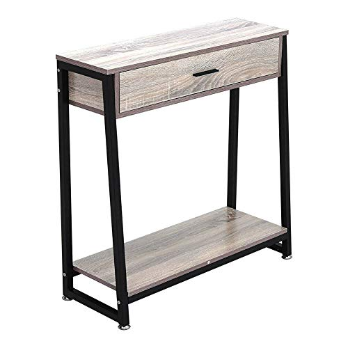 GXK Natural Wood Side Table Console Narrow Laptop Desk w/Drawer Shelf Dressing Stand