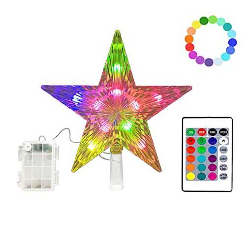 KBG Christmas Star Tree Topper Lights 9 inch with Versatile Remote Controller Treetop Christmas Decoration Light Bethlehem Star 3AA Battery Powered (LED Color-Changing)