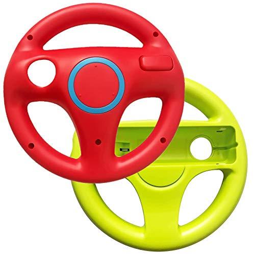 Link-e : Packung Mit 2 Lenkrädern, Die Mit Dem Wiimote Controller Der Nintendo Wii/Wii-U Konsole Kompatibel Sind (Farbe Rot/Grün)