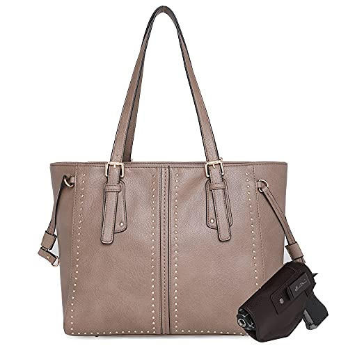 Montana West Large Leather Tote Bags for Women Cute Concealed Carry Shoulder Bags Handbags with Gun Holster (CCW Khaki)