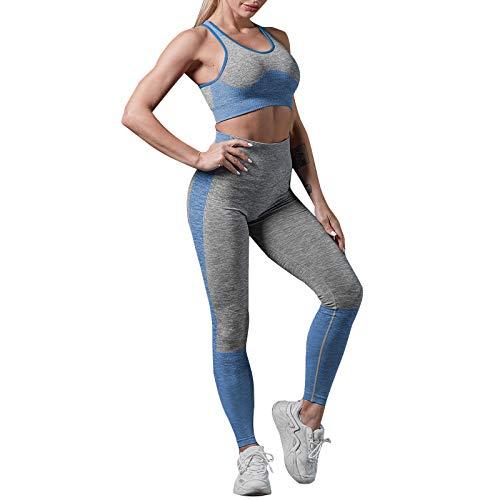 Conjunto Yoga Mujer 2 Piezas Traje Deportivo Yoga Chándal de Cadera Tejido, Pantalones de Yoga Elásticos Cintura Alta Sin Costuras+Sujetador Deportivo Chaleco Fitness Gym Jogging(Azul real,L)