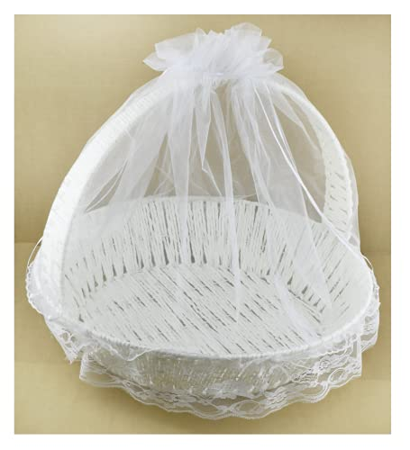Grande Corbeille Ronde Originale Panier Blanc Déco Contenants à Dragées/Cadeaux Accessoire Mariage Henné Fiançailles Fête Cérémonie