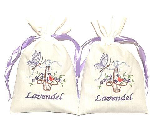 Bio 2 Lavendelsäckchen mit wunderschöner Stickerei