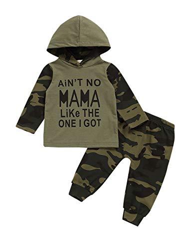 Ttkgyoe Baby Boy Clothes Manga Larga Estampada Lady Killer Top Hoodie y Pantalones de Camuflaje Conjunto de Conjuntos Infantiles