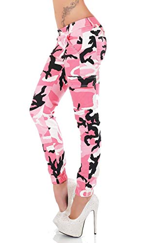 Label by Trendstylez Slim Fit Skinny Jeans Army Look Camouflage pink RD5509 Größe 38