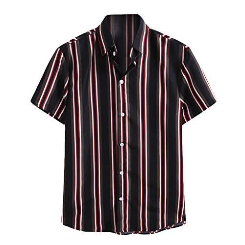 Xniral Kurzarmshirt Für Männer Modisch Gestreiftes Bedrucktes Kurzarmhemd Streifen Bequemes Slim Fit T-Shirt(b-Schwarz,M)