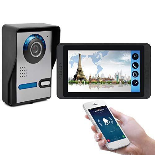 MBEN Timbre de intercomunicación con Video, 7'TFT LCD táctil táctil WiFi con Cable con Timbre de Video, cámara de Video, teléfono Celular, desbloqueo de Llamadas remotas, Video Portero, iOS/Android