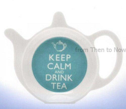 Lesser & Pavey - Piattino per bustina di tè, in melamina, con scritta: 'Keep Calm And Drink Tea', colore: Azzurro / Bianco