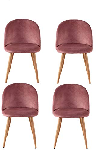 12365 Sedie da Pranzo, sedie comode, Velluto Morbido Sedie (Rosa, 4)