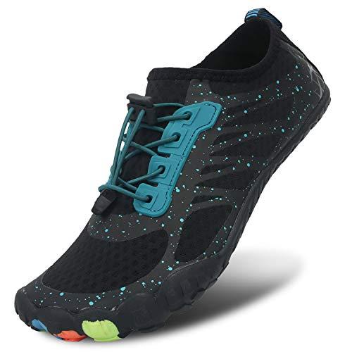 JIASUQI Damen Schnürschuhe für Sportliche Wasserschuhe Schnelltrocknend Aqua Barfuß für Surfen Tauchen Wassersport Schwarz, 35 EU