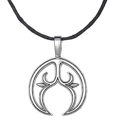 Dawapara Damen Halskette mit heidnischem Anhänger, Mond-Anhänger, Lunula, slawisch, Fruchtbarkeitssymbol