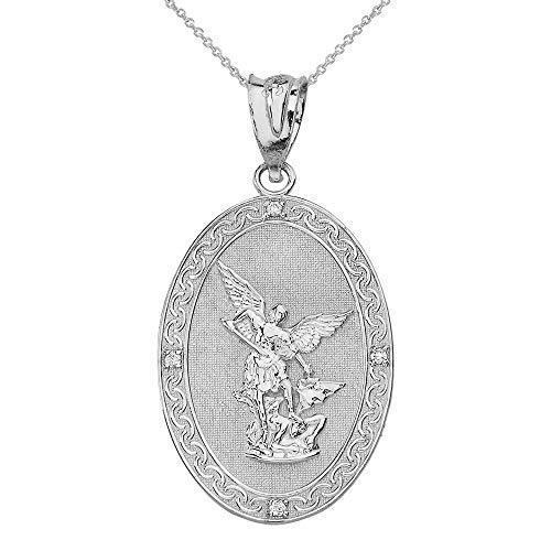Sterling Silber Erzengel Michael Oval Zirkonia Gebet Anhänger Halskette (Large) (Kommt mit Einer 45 cm Kette)