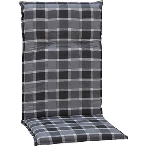 beo Chaises Coussin avec Bordure pour Fauteuil à Dossier Haut Motif Carreaux Env. 118 x 48 x 6 cm, Gris/Noir/Multicolore