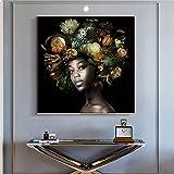 zachking Muchacha Negra Africana Con Flores En La Pintura Al Óleo De La Cabeza En Lienzo Pósteres Y Estampados Imágenes De Arte De Pared Para Mujeres Para Sala De Estar Cuadros. 40x40cm Framed