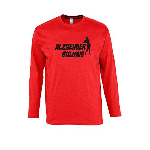 ALZHEIMER BULIMIE - Herren Langarm Longsleeve T-Shirt S-XXL , Red - schwarz , XXL