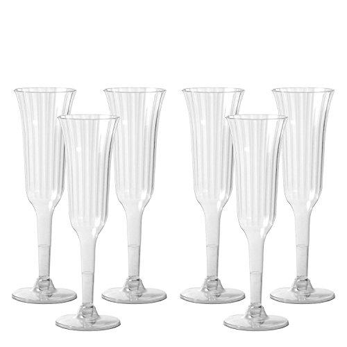 Party Essentials 10 graines Plastique rigide en 2 parties Deluxe flûtes à champagne, plastique, claire, 40-Count
