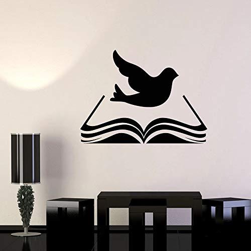 Tianpengyuanshuai Muurtattoo, vinyl, bibliotheek, Bijbel, religie, vogel, duif, deur en ramen, zelfklevend, klasse kinderen, studentendecoratie