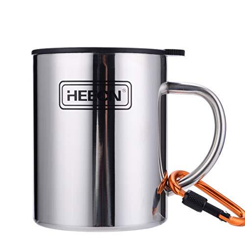 HEECN Camping Becher Mit Deckel und Karabiner Outdoor Tasse Doppelwandige Kaffeebecher Isolierbecher BPA-frei 220ml 300ml 450ml HESS-038BBK 400ml Mit Versiegeltem Deckel