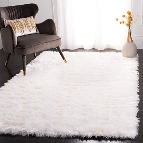 Safavieh Faux Silky Sheepskin FSS235A Ivory Area Shag Rug (6' x 9')
