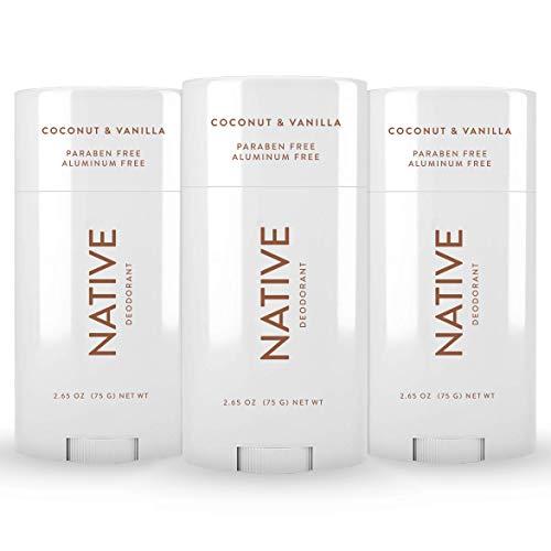 Native Deodorant - Natural Deodorant for Women and Men - 3 Pack Coconut & Vanilla - Contains Probiotics - Aluminum Free & Paraben Free, Naturally Derived Ingredients - Vegan, Gluten Free & Cruelty Free