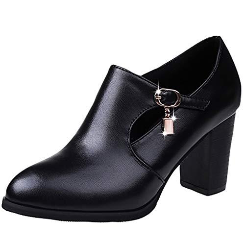 TEELONG 2019 mujeres cremallera botas cortas, clásico color sólido talón cuadrado puntiagudo zapatos de fiesta otoño invierno botas cortas tamaño 4 5 6 Reino Unido, color Negro, talla 37.5 EU