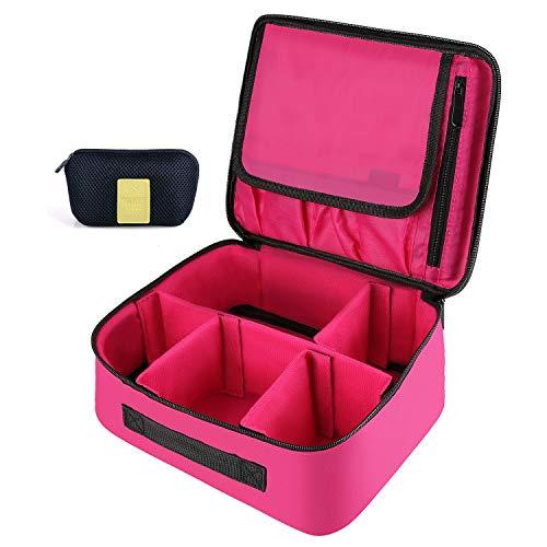 DIMJ Porta Trucchi da Viaggio,Trousse da viaggio portatile Con contenitore per gioielli e vano spazzole Utilizzato in cosmetici pennelli per il trucco anelli orecchini collane (Rosso Rosa)