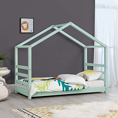 Cama para niños de Pino 160 x 80 cm Cama Infantil Forma de casa en Color Verde Menta Lacado Mate