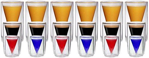 Set van 18 (elk 6x 30,70 en 200ml) dubbelwandige glazen in spitse glasdesign met zweefeffect, ideaal voor espresso, jenever, likeur en grappa, water, limo, cola en nog veel meer. - Spikey van Feelino