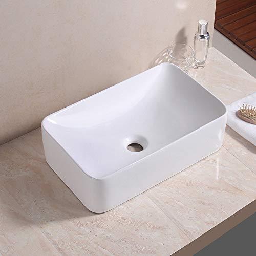 Lavabo sobre encimera, lavabo de baño Forma rectangular Lavabo de cerámica a mano Lavabo sobre encimera Lavabo Guardarropa Blanco 48 x 29 x 13 cm