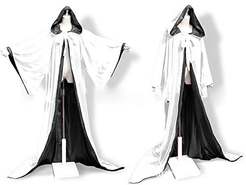Fenghuavip Satin Full Length Halloween Cloak Robe Wizard Hooded Cape with Bell Sleeves(White Black 4XL)