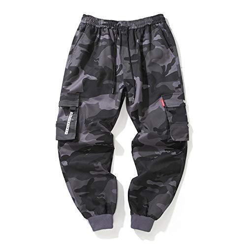 Pantalones cargo de camuflaje para hombre, talla grande, pantalones de chándal para hombre Color gris camuflaje. 8XL