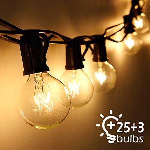 Cadena de Luces, Qomolo G40 Exterior Guirnalda Luces Con 25 Bombillas Y...