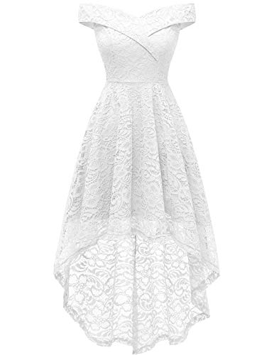 Homrain White Dresses for Women Wedding Dresses for Bride 2021 High Low Off Shoulder Floral Lace White 2XL