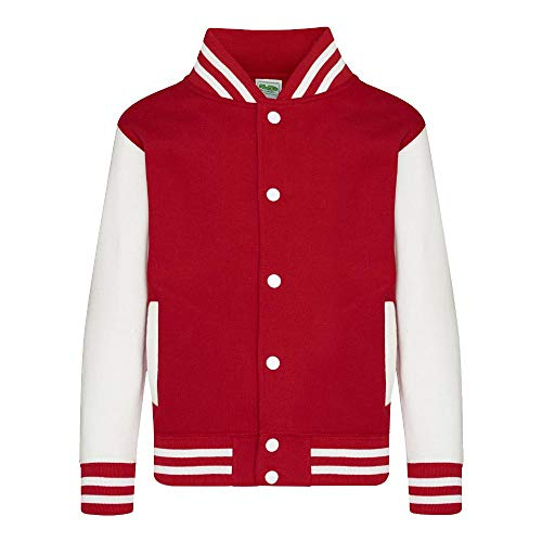 Just Hoods - Kinder College Jacke/Fire Red/White, 7/8 (M)