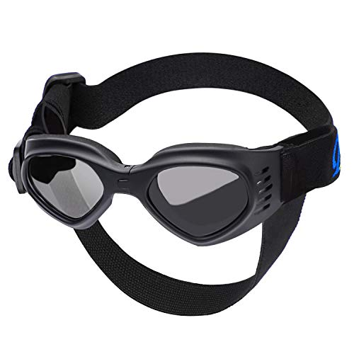 Segarty Pet Glasses Windproof Dog Glasses, Dog Goggles UV Protection with Strap Anti-Fog Windproof Pet Goggles Sun Glasses for Dogs, Dog Eye Glasses for Car Rides Eye Protection, Costumes, Black