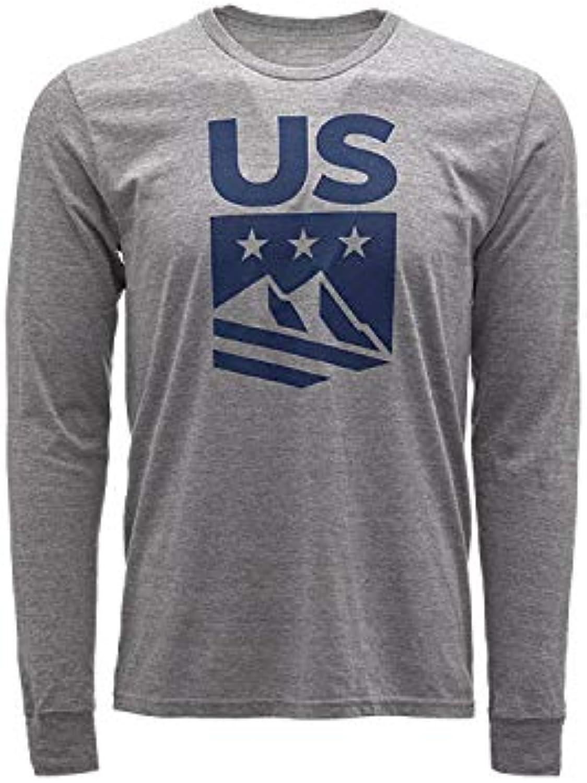 Spyder Active Sports Men's U.S. Ski Team Crest Long Sleeve T-Shirt, Alloy, Medium