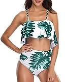 Misolin Costumi da Bagno Interi con Volant da Spiaggia con Scollo a V da Donna