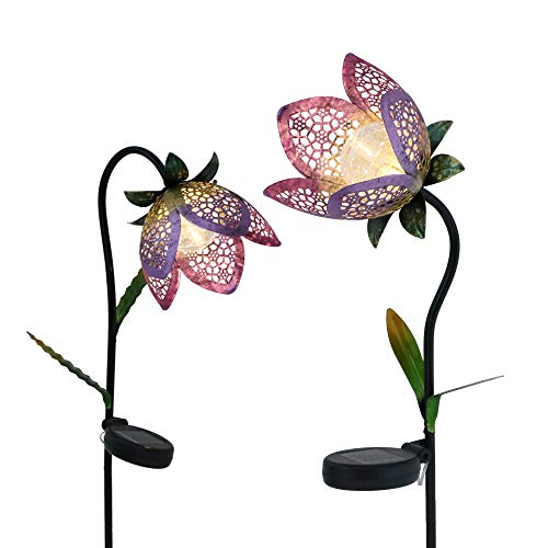 TERESA'S COLLECTIONS 2 Pack Metal Flower Solar Stakes Lights for Garden Decor, Tulip Solar Stake with Crackle Glass Ball for Outdoor Patio Yard Porch Decorations, 27-29.5 inch Tall