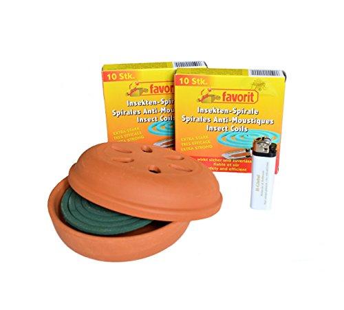 Helmecke & Hoffmann * 22 Anti-Mückenspiralen Mückenabwehr Insektenspirale extra stark + passenden Tontopf + Feuerzeug