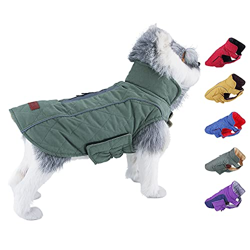 ThinkPet Dog Cold Weather Coats - Cozy Waterproof Windproof Reversible Winter Dog Jacket, Thick Padded Warm Coat Reflective Vest Clothes for Puppy Small Medium Large Dogs S Green