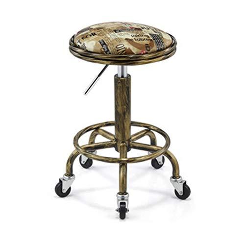 LDFANG Barber stoel katrol lift draaibare stoel - geel Engels patroon - 64cm * 47cm * 32cm