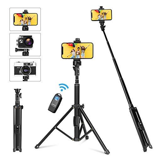 YOHOOLYO Bastone Selfie Stick 4 in 1 Treppiede per Cellulare 137cm Estensibile Wireless Bluetooth Telecomando cavalletto iPhone/Smartphone/Gopro