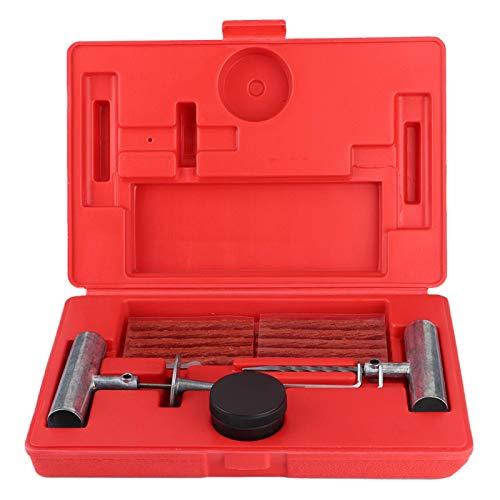Kit de reparación de neumáticos: kit de reparación de neumáticos, herramienta de reparación de tapones de perforación de neumáticos sin cámara para tractores, cortacésped, camiones, automóviles, rueda