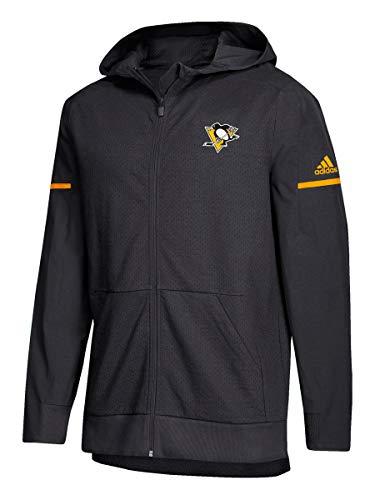 adidas NHL 2018 Mens Squad Full Zip Mesh Hooded Jacket (Medium, Pittsburgh Penguins)